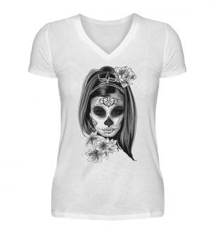 SpreeRocker Black White Skull - V-Neck Damenshirt-3