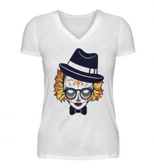 SpreeRocker Lady Skull - V-Neck Damenshirt-3
