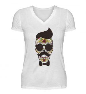 SpreeRocker Sunglasses Skull - V-Neck Damenshirt-3