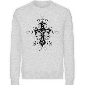 SpreeRocker - Black Cross - Unisex Organic Sweatshirt-6892