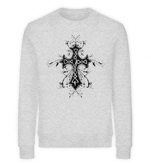 SpreeRocker - Black Cross - Unisex Organic Sweatshirt-6892