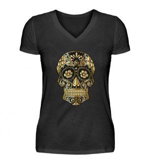 SpreeRocker® - Golden Skull - V-Neck Damenshirt-16