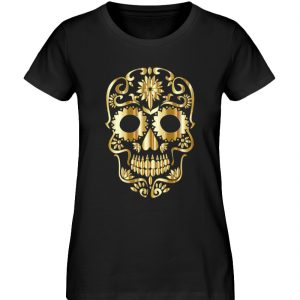 SpreeRocker® - Golden Skull 1 - Damen Premium Organic Shirt-16