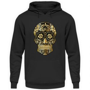 SpreeRocker® - Golden Skull - Unisex Kapuzenpullover Hoodie-1624
