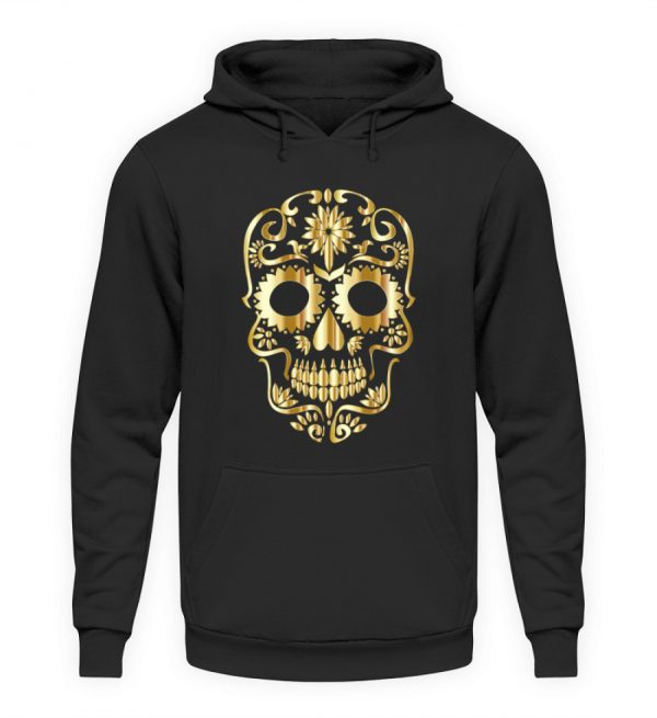 SpreeRocker® - Golden Skull 1 - Unisex Kapuzenpullover Hoodie-1624