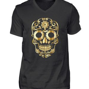 SpreeRocker® - Golden Skull 1 - Herren V-Neck Shirt-16
