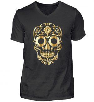 SpreeRocker® - Golden Skull 1 - Herren V-Neck Shirt-16