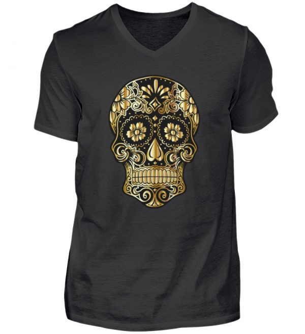 SpreeRocker® - Golden Skull - Herren V-Neck Shirt-16