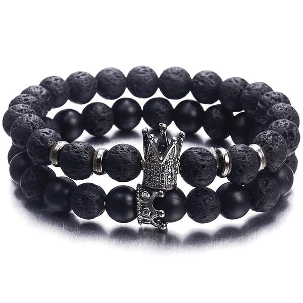 Lavastein Armband Black