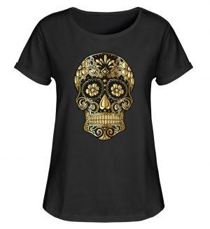 SpreeRocker® - Golden Skull - Damen RollUp Shirt-16