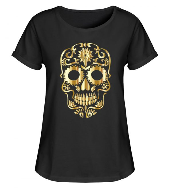 SpreeRocker® - Golden Skull 1 - Damen RollUp Shirt-16