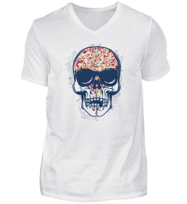 SpreeRocker - Red Blue Skull - Herren V-Neck Shirt-3