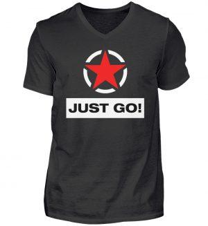 JUST GO! Red Star - Herren V-Neck Shirt-16