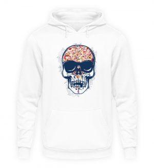 SpreeRocker - Red Blue Skull - Unisex Kapuzenpullover Hoodie-1478