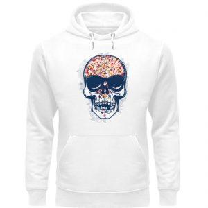 SpreeRocker - Red Blue Skull - Unisex Organic Hoodie-3
