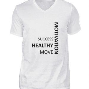 SpreeRocker - Motivation - Herren V-Neck Shirt-3