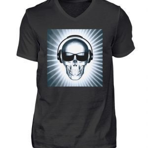 SpreeRocker - Headphone Skull - Herren V-Neck Shirt-16