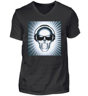 SpreeRocker - Headphone Skull - Herren V-Neck Shirt-16