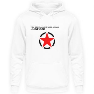 JUST GO1 Black Red Star - Unisex Kapuzenpullover Hoodie-1478