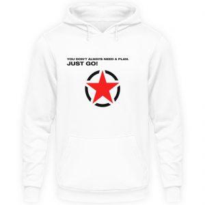 JUST GO1 Black Red Star - Unisex Kapuzenpullover Hoodie-1478