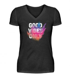 SpreeRocker - GOOD VIBES ONLY - V-Neck Damenshirt-16