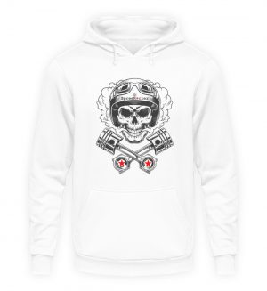 SpreeRocker® - Motorcycle Skull - Unisex Kapuzenpullover Hoodie-1478
