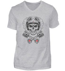 SpreeRocker® - Motorcycle Skull - Herren V-Neck Shirt-17