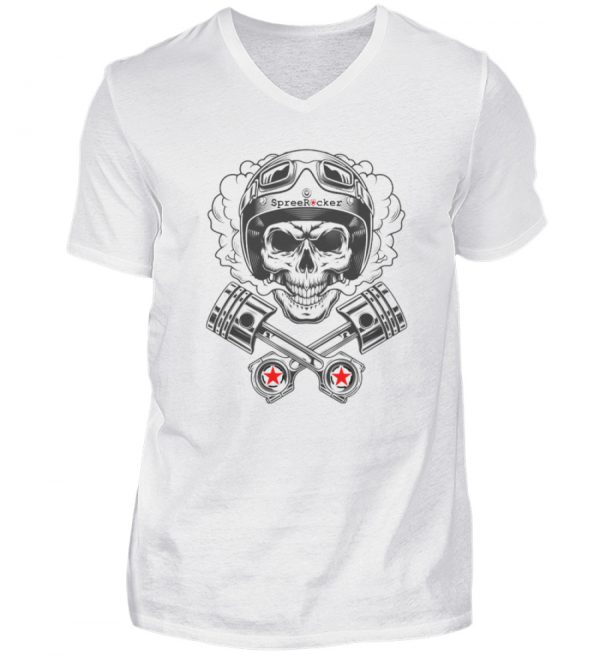 SpreeRocker® - Motorcycle Skull - Herren V-Neck Shirt-3