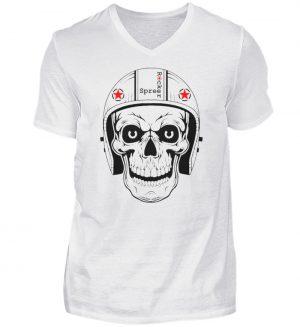 SpreeRocker® - Biker Skull - Herren V-Neck Shirt-3