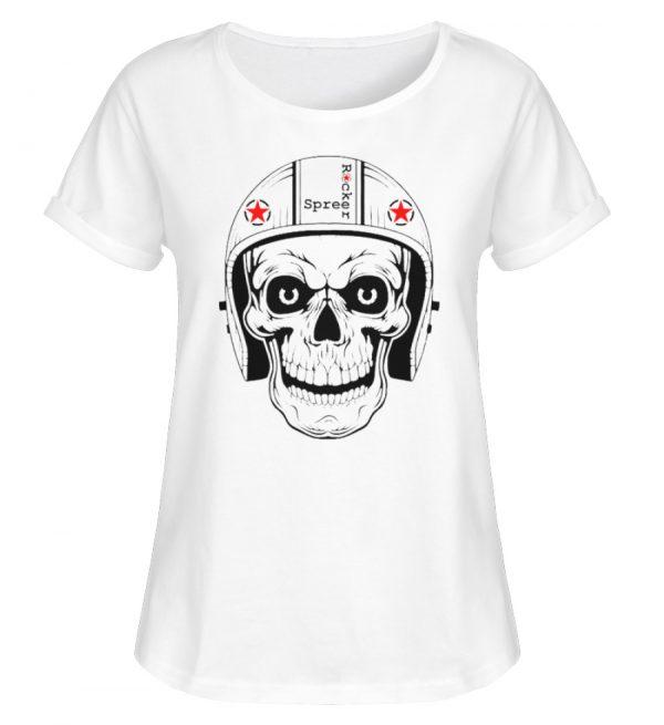 SpreeRocker® - Biker Skull - Damen RollUp Shirt-3