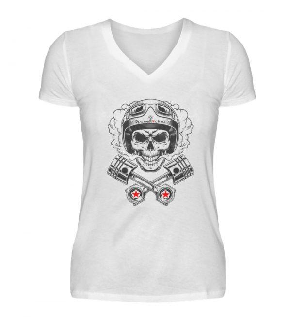 SpreeRocker® - Motorcycle Skull - V-Neck Damenshirt-3