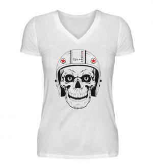 SpreeRocker® - Biker Skull - V-Neck Damenshirt-3